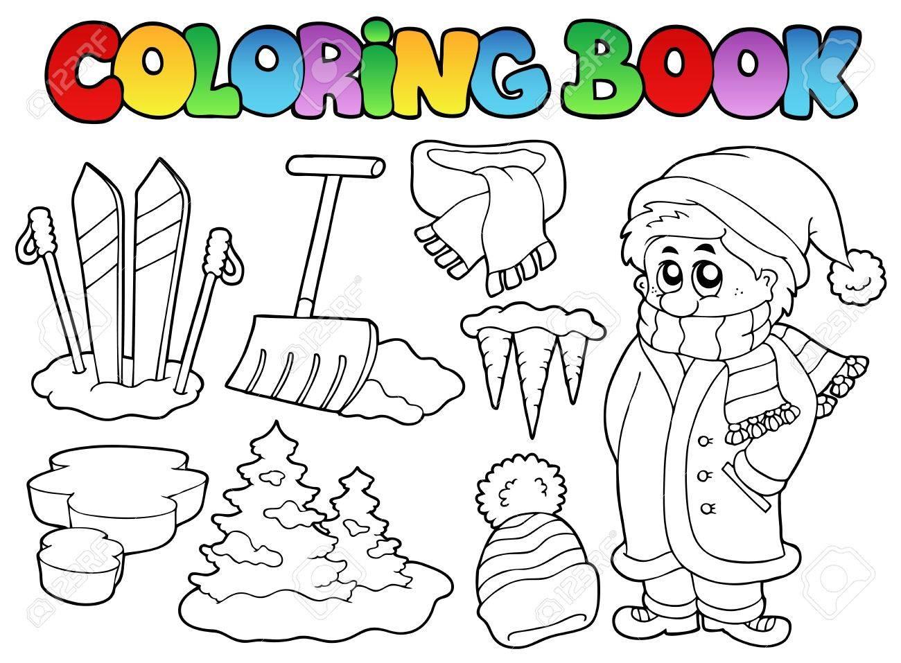Thema-Winter Buchillustration Färbung. Lizenzfrei Nutzbare ...