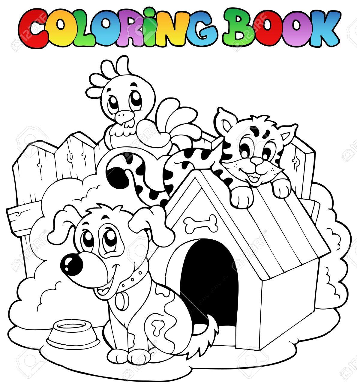 Libro Para Colorear Con Ilustración De Animales Domésticos
