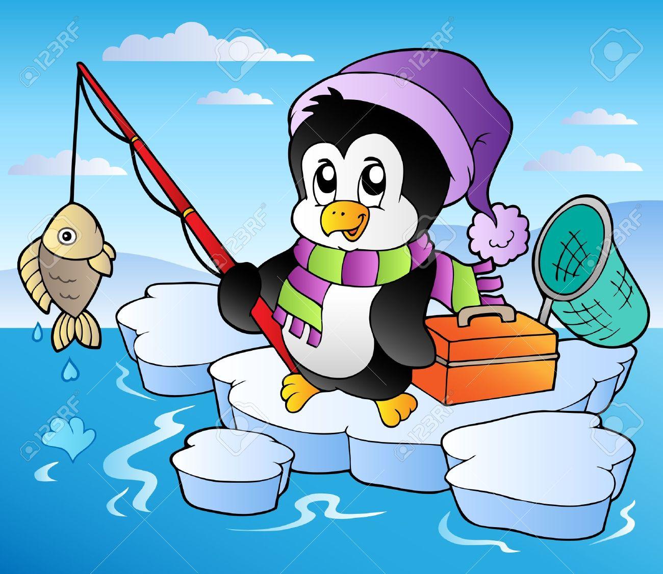 Cartoon fishing penguin - vector illustration. Stock Vector - 10912678