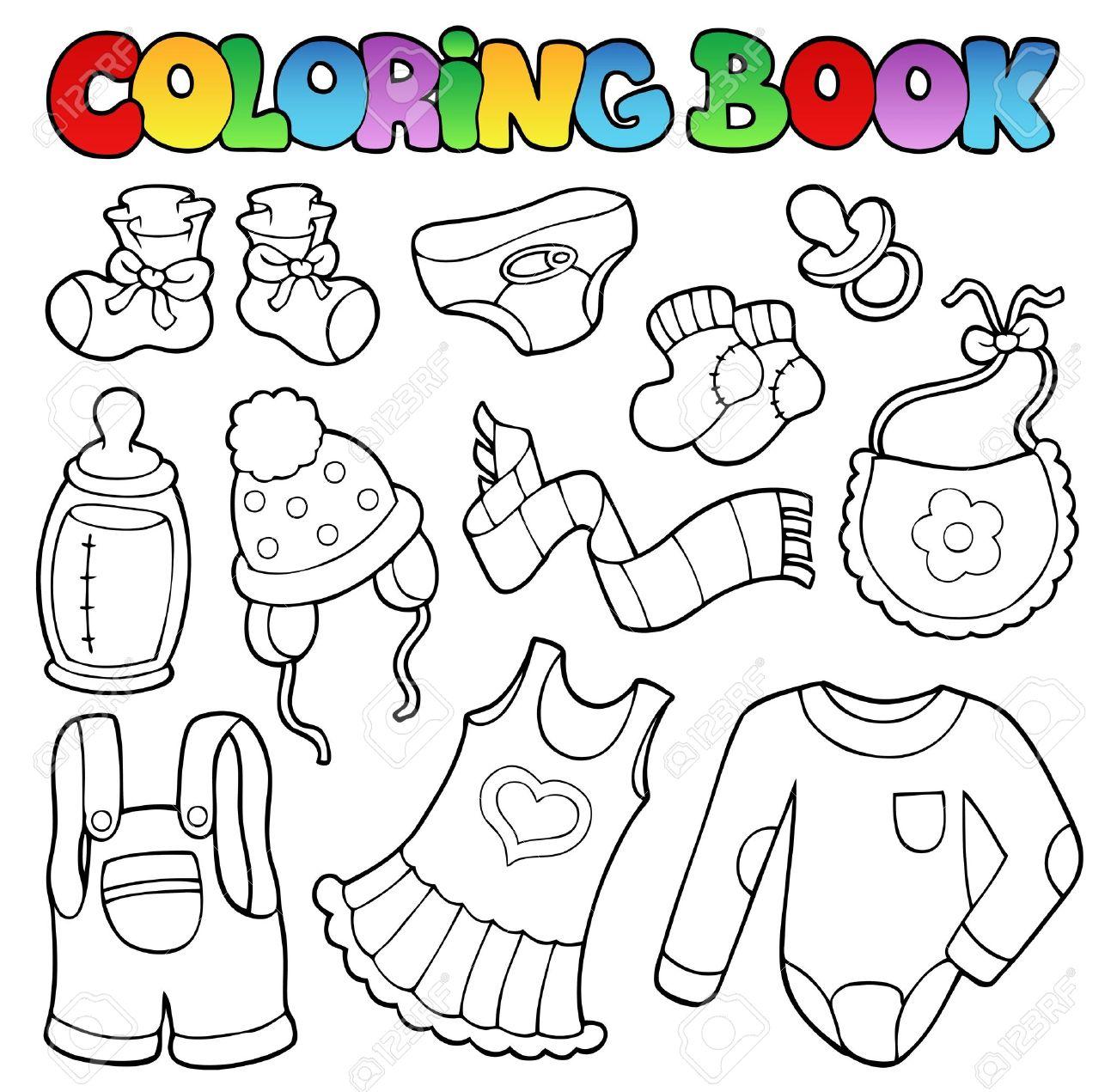 Foto de archivo , Para colorear ropa de bebé libro , ilustración vectorial.