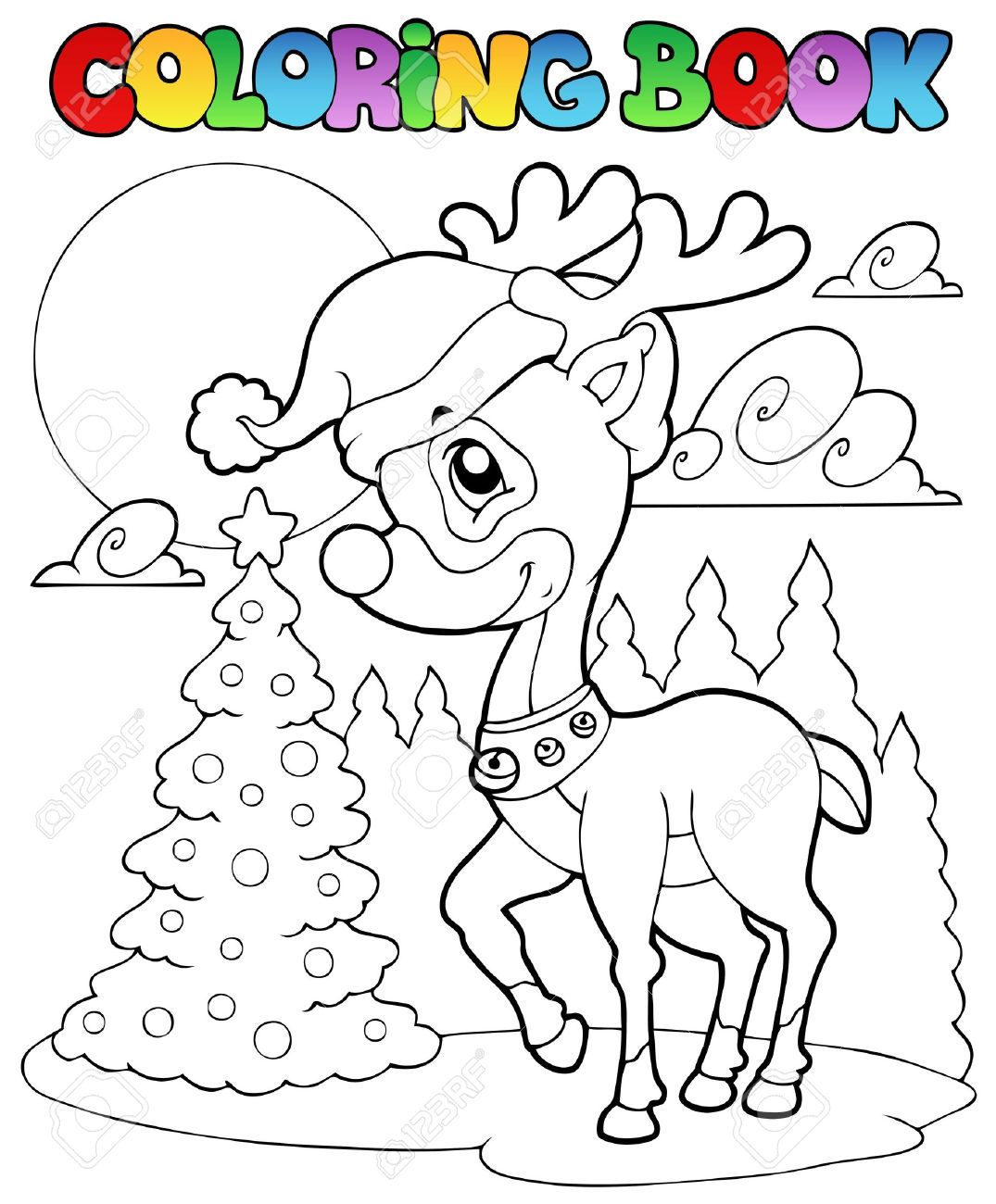 Coloring Book Christmas Deer 1