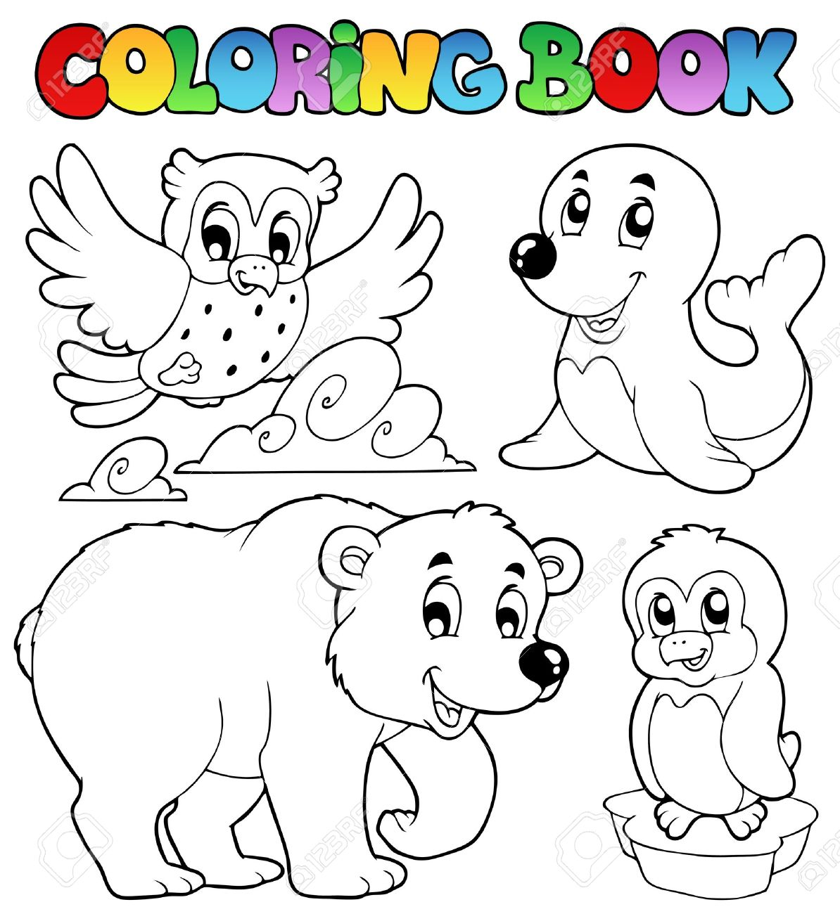coloring book happy winter animals vector illustration royalty