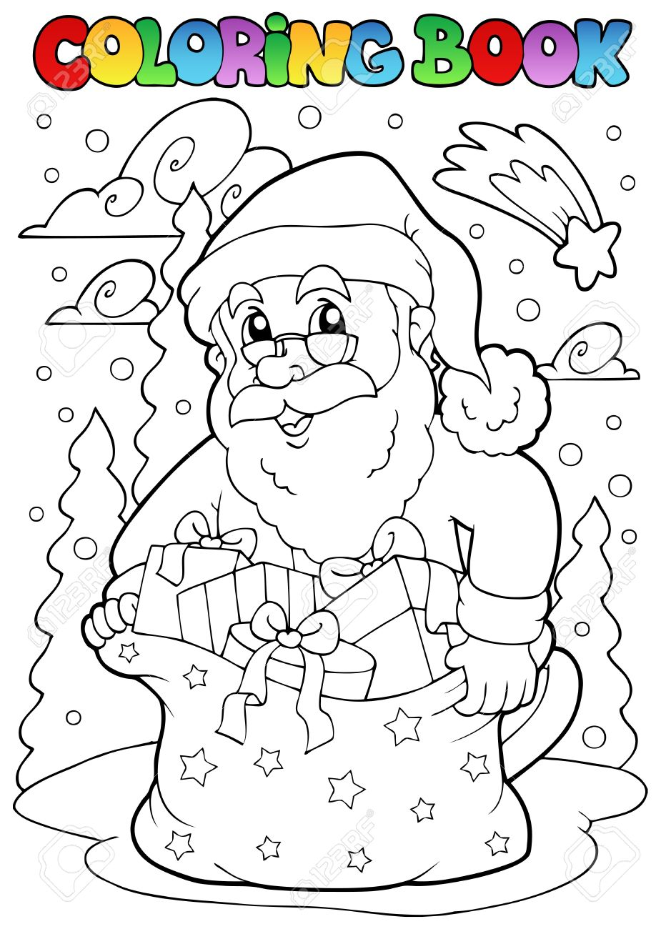 Coloring book Santa Claus theme 3 - vector illustration. Stock Vector - 10912674