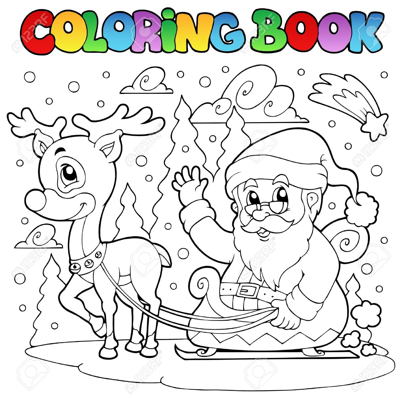 coloring book santa claus theme 4 vector illustration stock vector 10912665