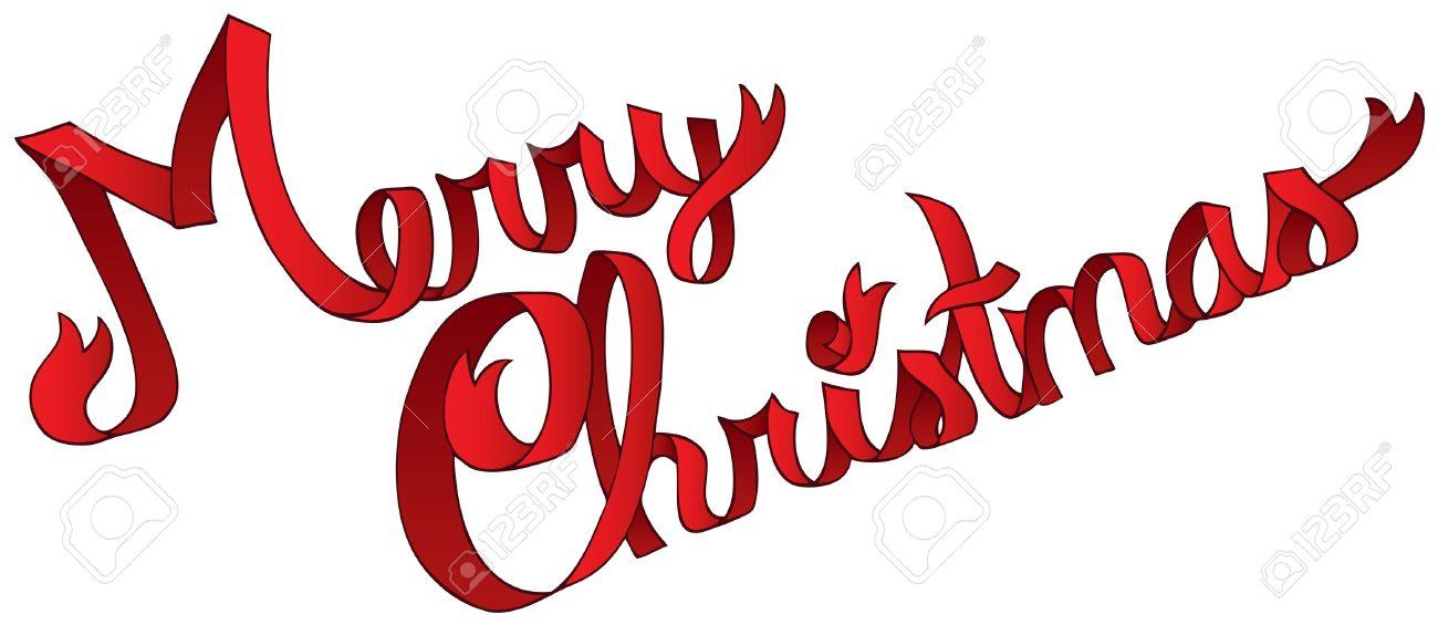 Merry Christmas Ribbon Clipart.Merry Christmas Ribbon Sign Vector Illustration