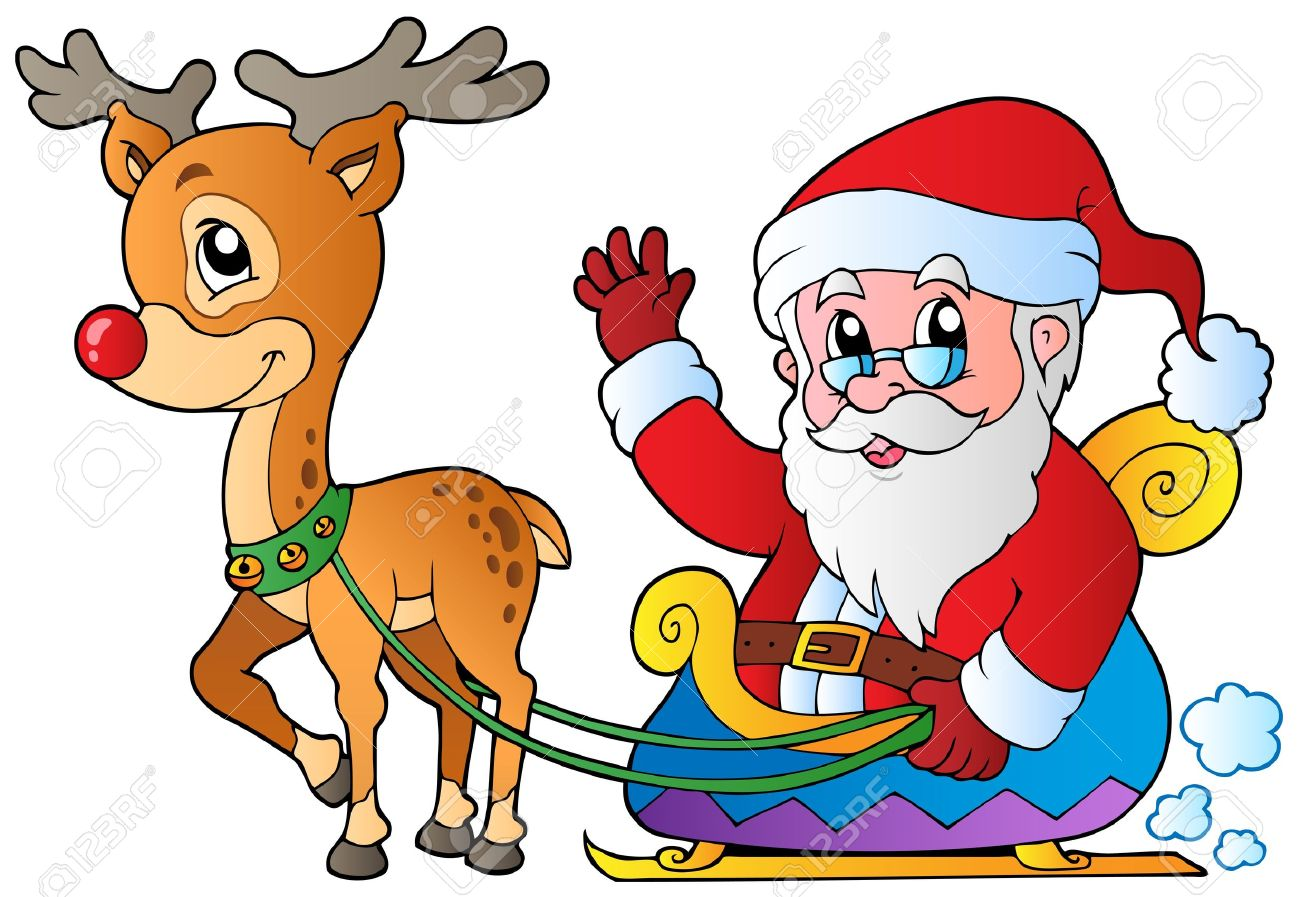 santa claus with sledge and deer vector illustration royalty free rh 123rf com free clipart of black santa clauses clipart of santa claus black and white