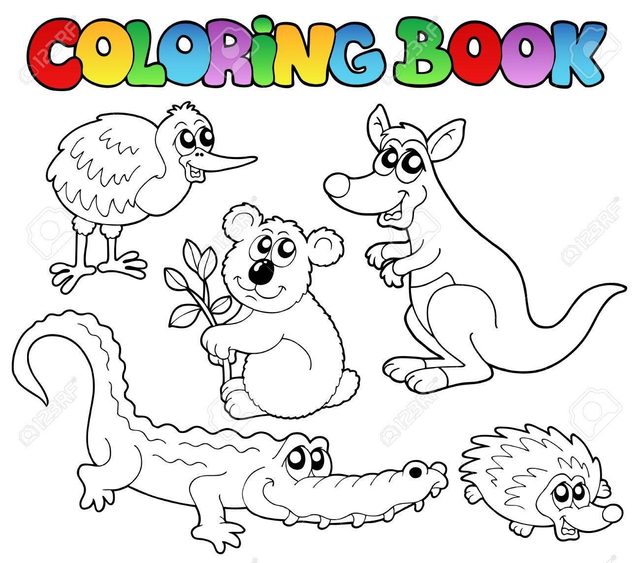 coloring book australian animals 1 vector illustration royalty