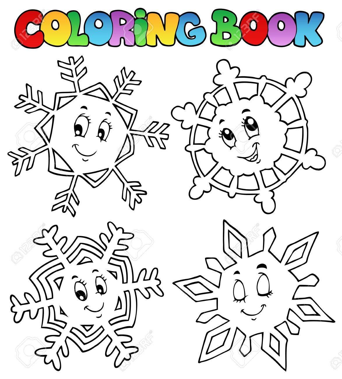 Coloriage des flocons de neige de bande dessinée livre 1 illustration vectorielle Banque d