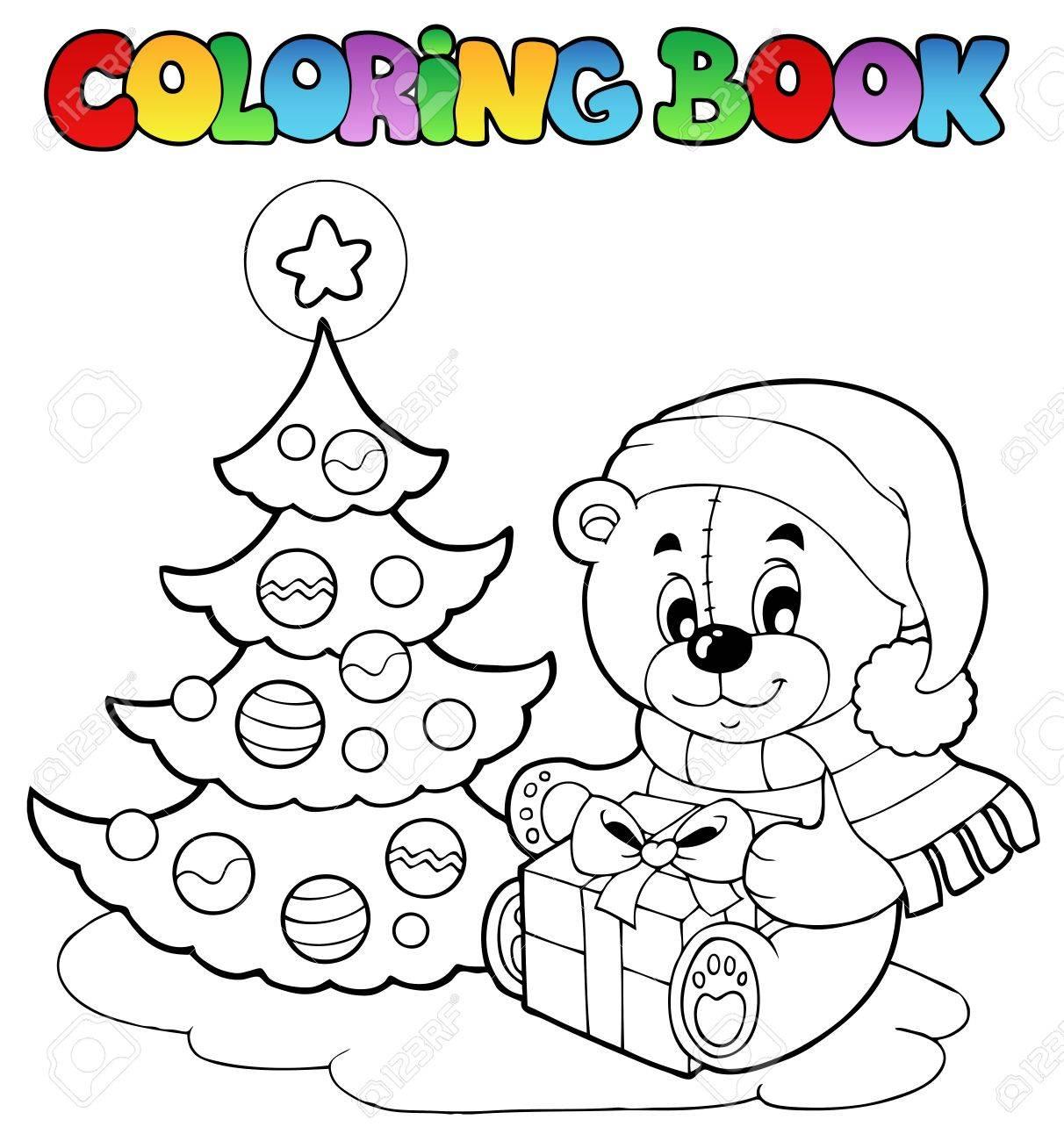 Malbuch Weihnachten Teddybär - Vektor-Illustration. Lizenzfrei ...