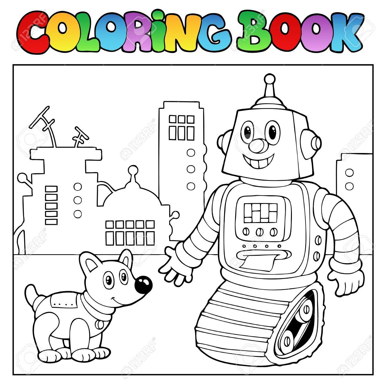Coloring pictures robot - Coloring Book Robot Theme 2 Vector Illustration Stock Vector 11124937