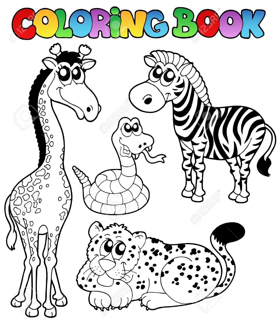 1 - のベクトル イラスト本熱帯動物の着色。 ロイヤリティフリー