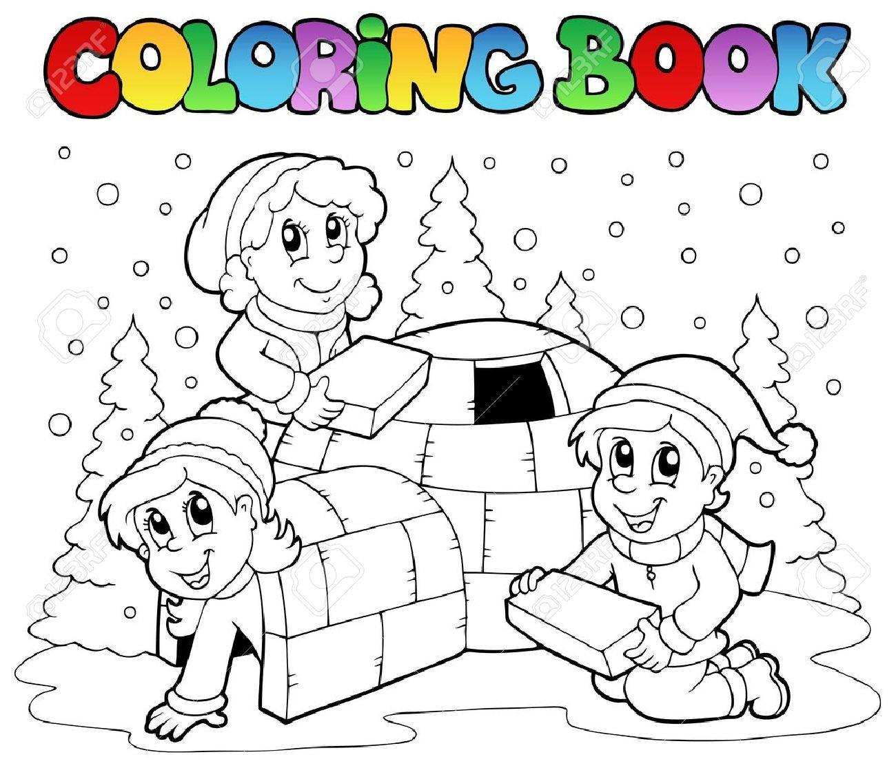 Coloring book winter scene 1 - vector illustration. Stock Vector - 11124966