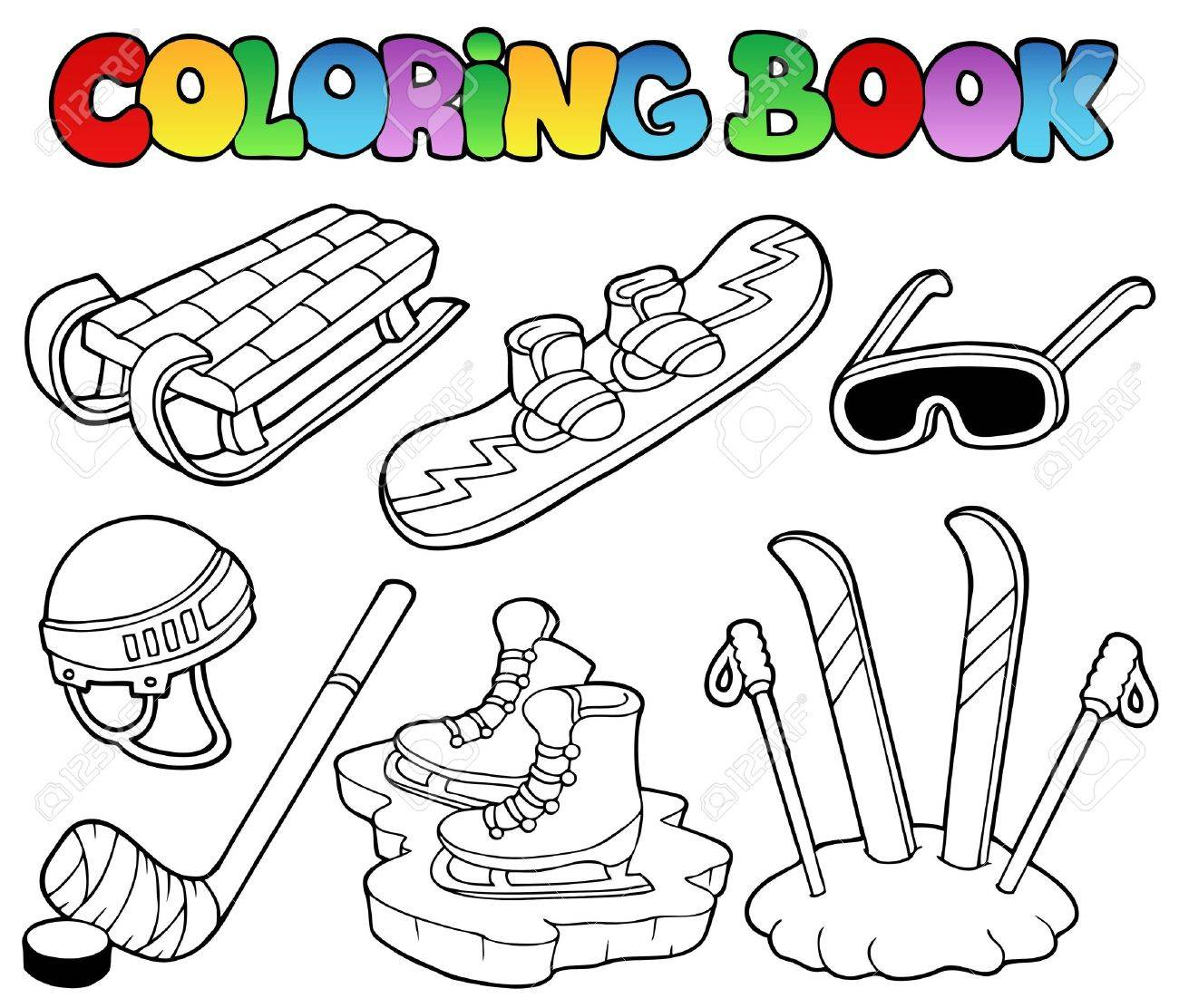 Coloring Book Winter Sports Gear - Vector Illustration. Royalty ...