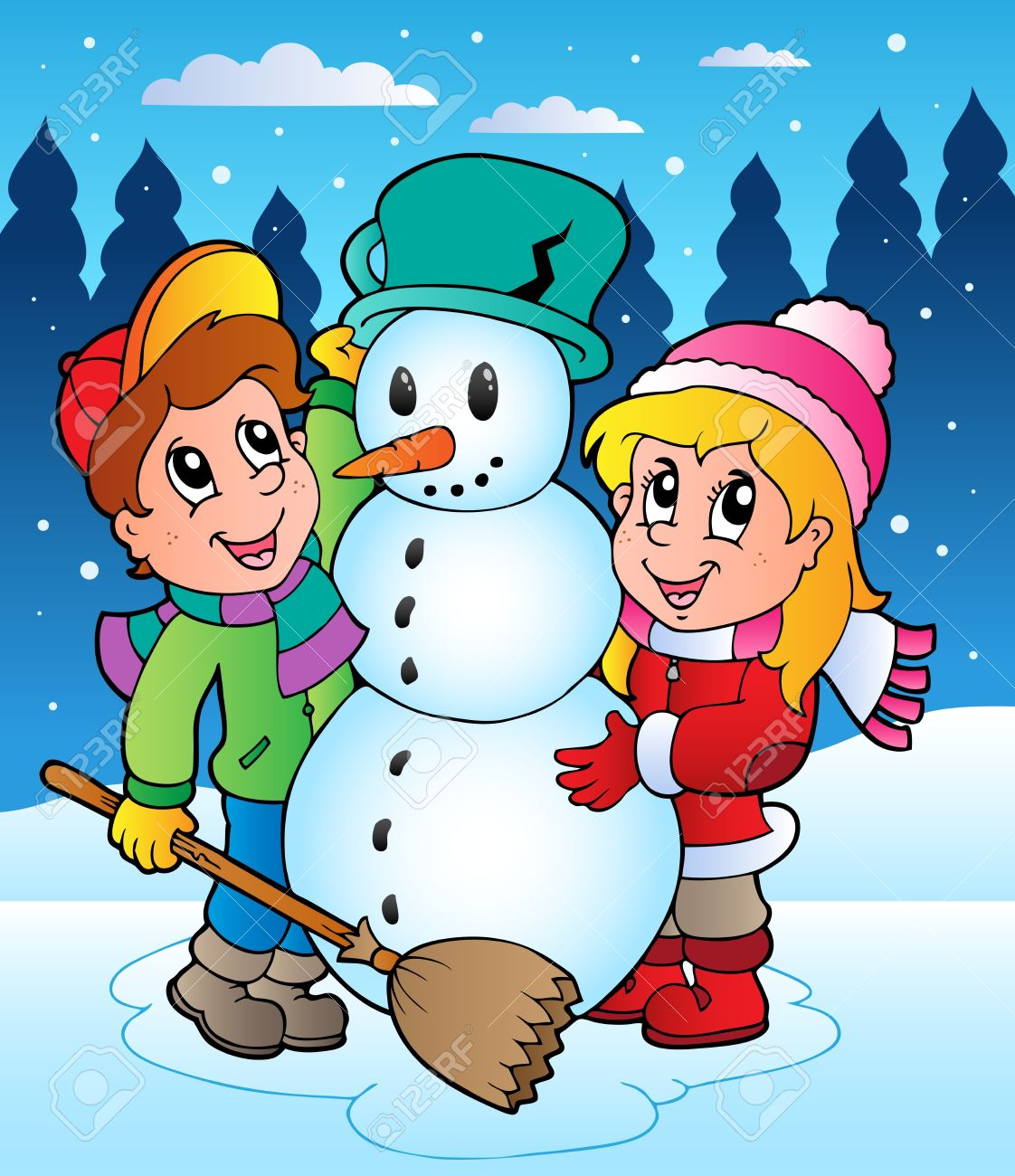 Winter scene with kids 2 - vector illustration. Stock Vector - 11125000