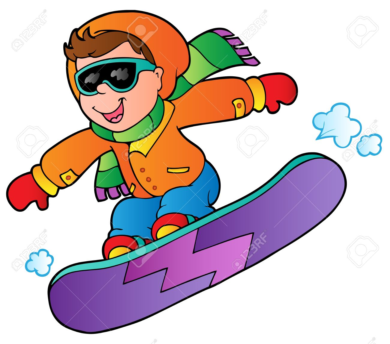 Cartoon Boy On Snowboard Illustration Royalty Free Cliparts Vectors And Stock Illustration Image 11505288