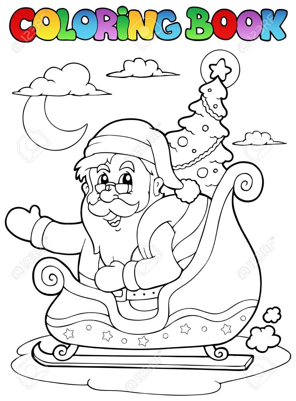Coloring book Santa Claus theme  illustration. Stock Vector - 11505350
