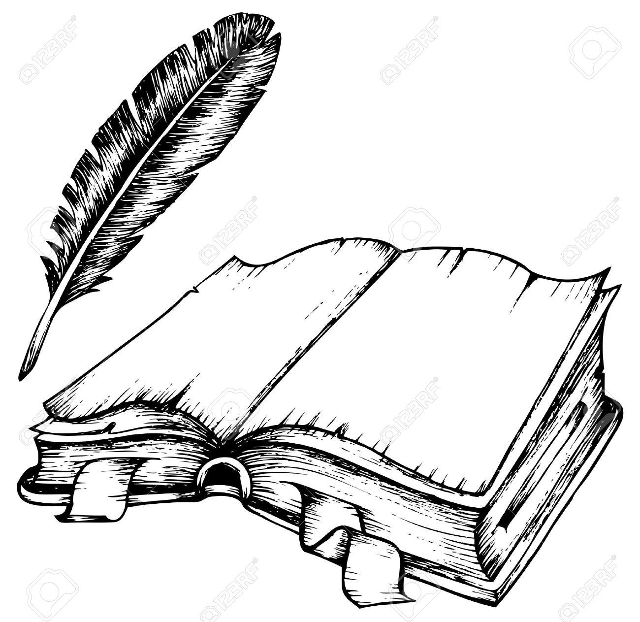 dibujo de libro abierto con la ilustracin de plumas foto de archivo 11505344