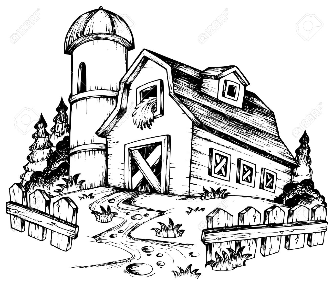 farm fence drawing. Farm Theme Drawing Illustration. Stock Vector - 11505348 Fence