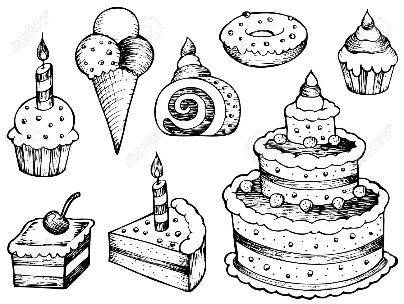 cakes drawings collection - vector illustration. royalty free
