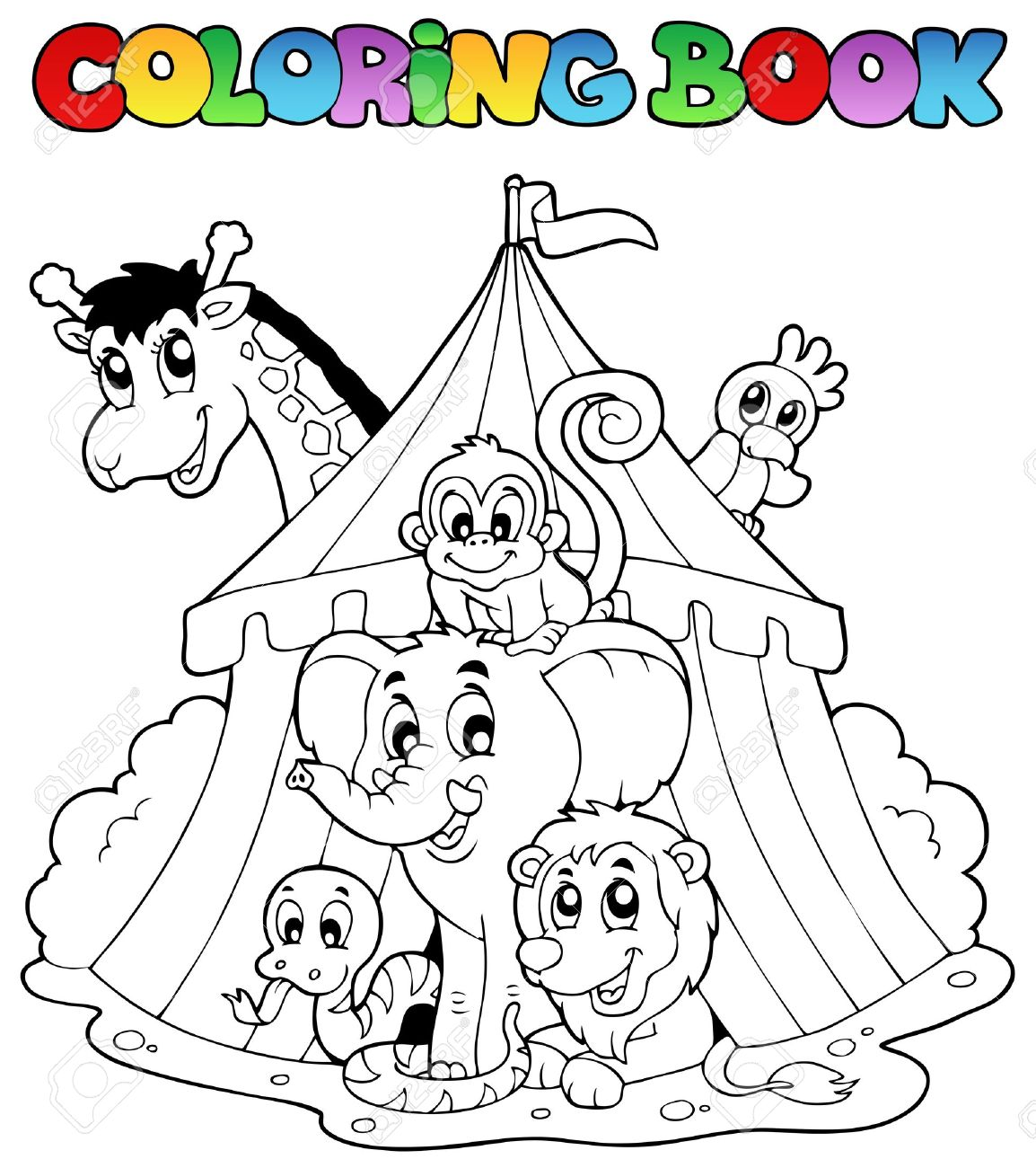 coloring book animals in tent vector illustration stock vector 11654741 - Coloring Book Animals