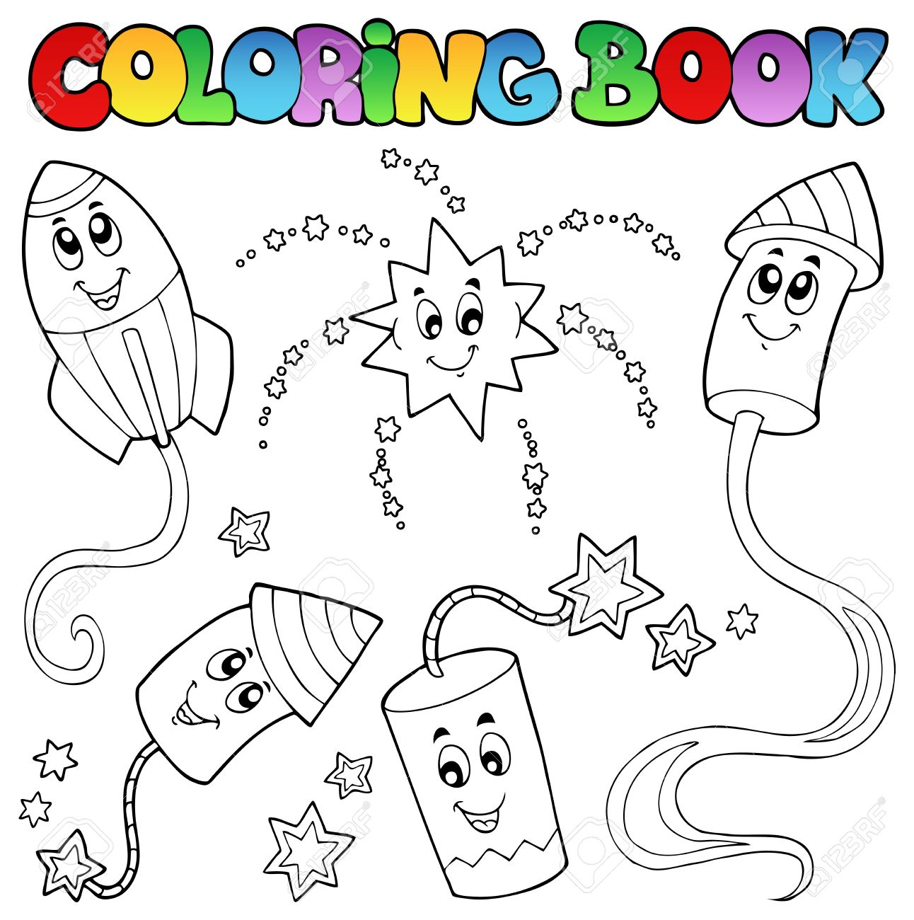 coloring book fireworks theme 2 vector illustration royalty
