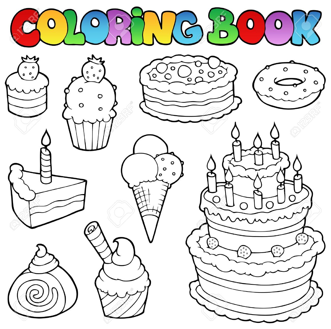Coloring Book Various Cakes 1 - Vector Illustration. Royalty Free ...