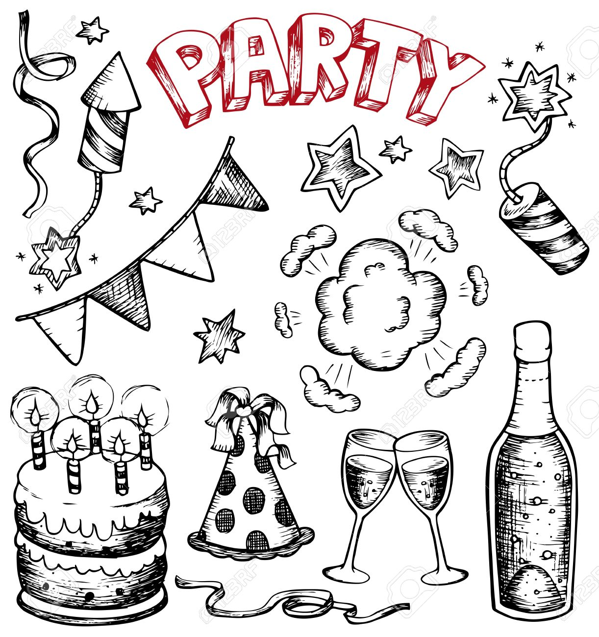 Party drawings collection 1 - vector illustration. Stock Vector - 11654789