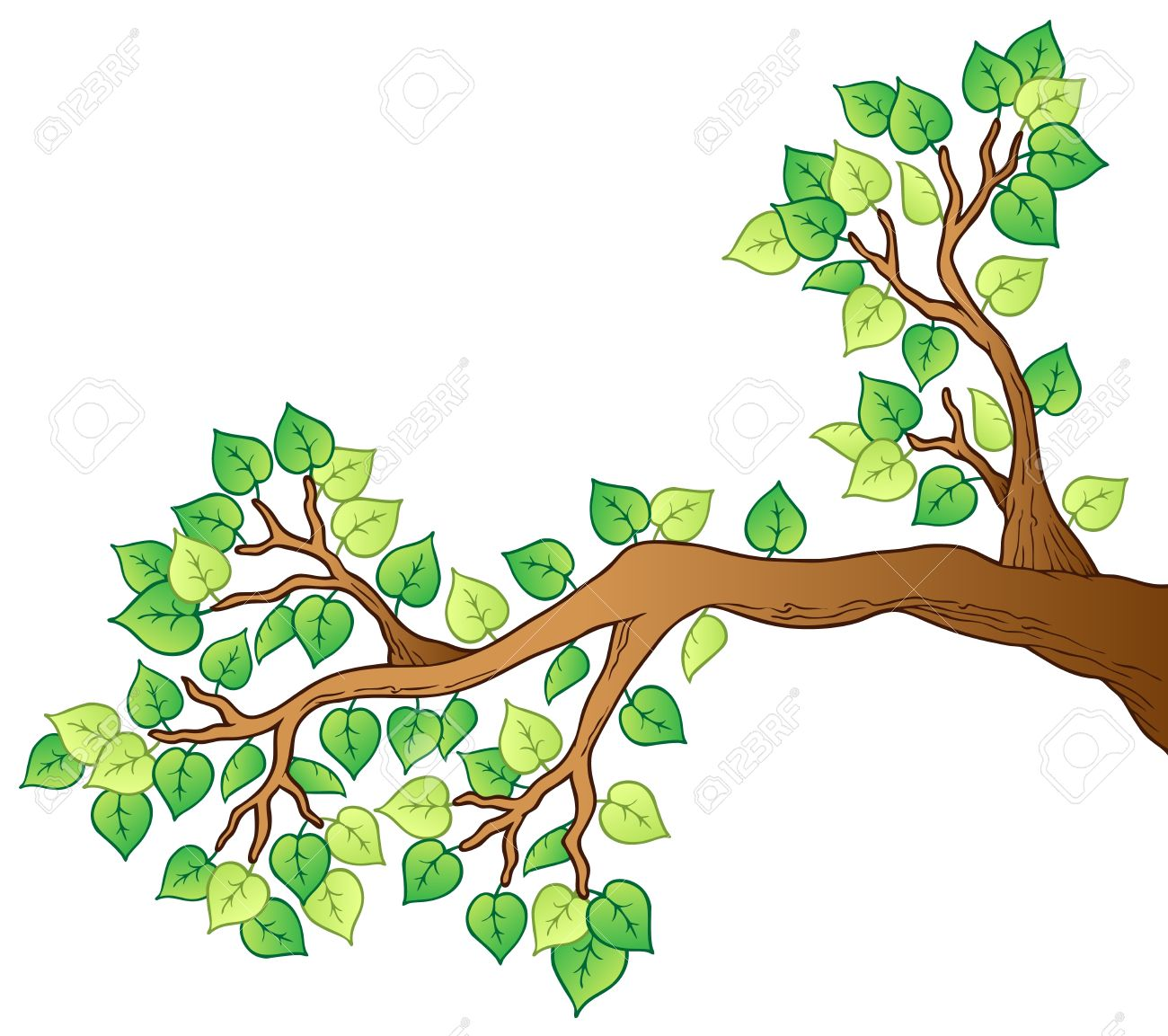 cartoon tree branch with leaves 1 vector illustration royalty