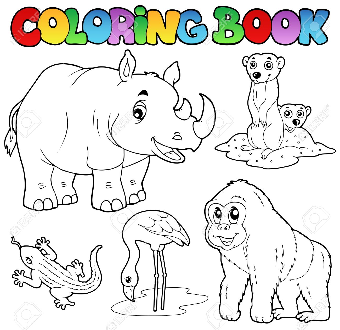 Coloring Book Zoo Animals Set 1 - Vector Illustration. Royalty Free ...