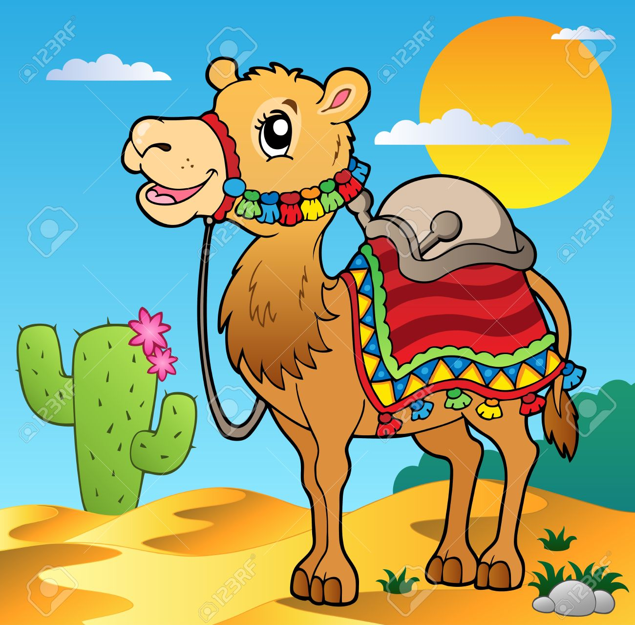 Desierto Escena Con Camellos - Ilustración Vectorial. Ilustraciones ...