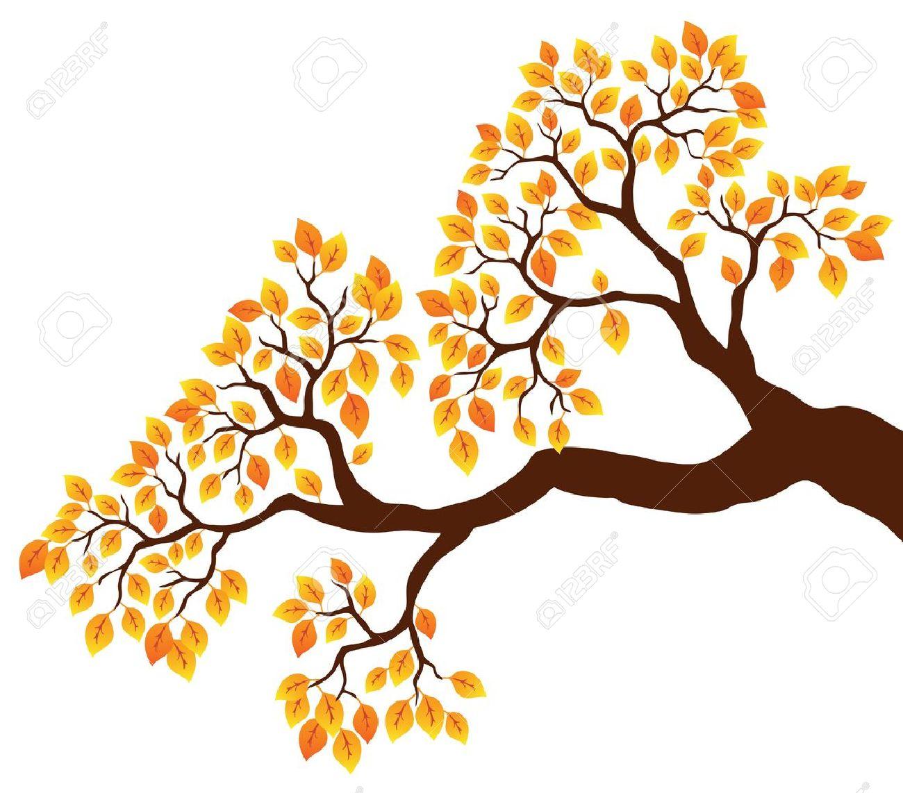 tree branch with orange leaves 1 vector illustration royalty free rh 123rf com vector christmas tree branch vector tree branch leaves