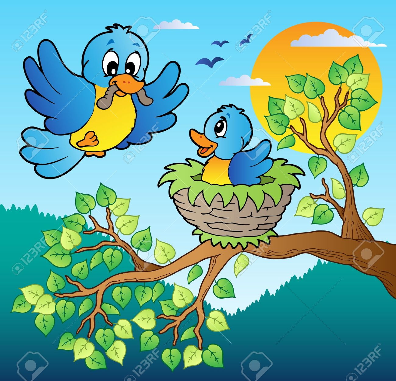 Two blue birds with tree branch - vector illustration. Stock Vector - 11918008