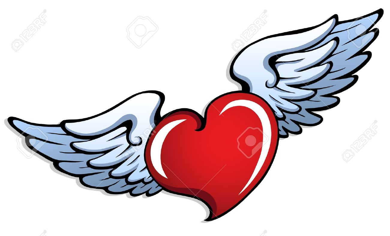 Stylized Heart With Wings 1 Vector Illustration Royalty Free