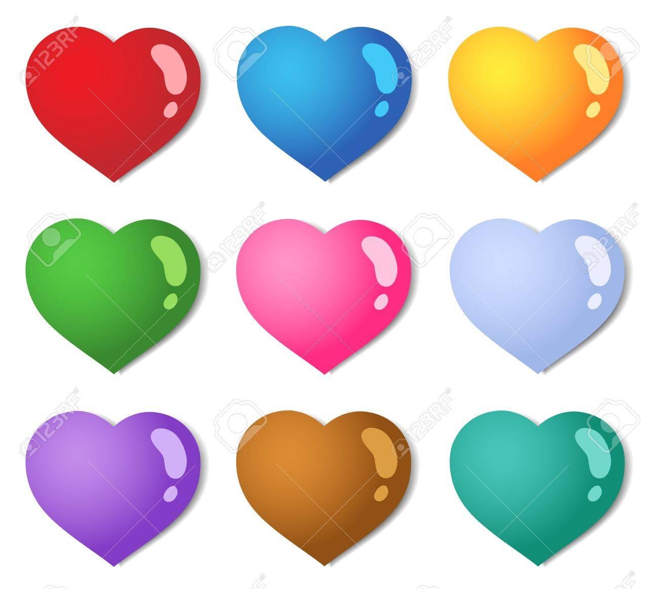 Corazones De Colores Diferentes De Recogida 1 Ilustracion