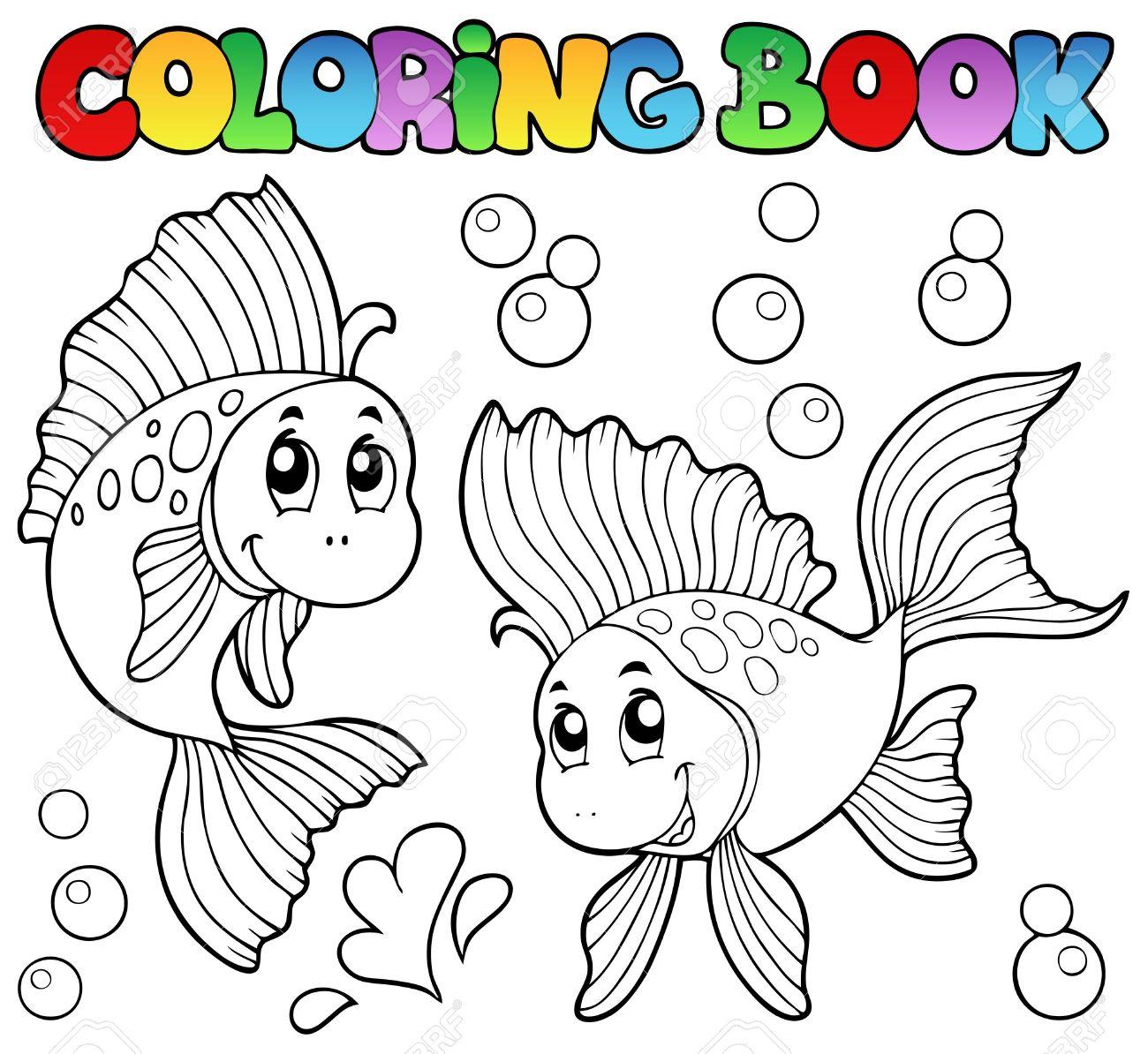 Coloring Book Dos Peces De Colores Lindos - Ilustración Vectorial ...