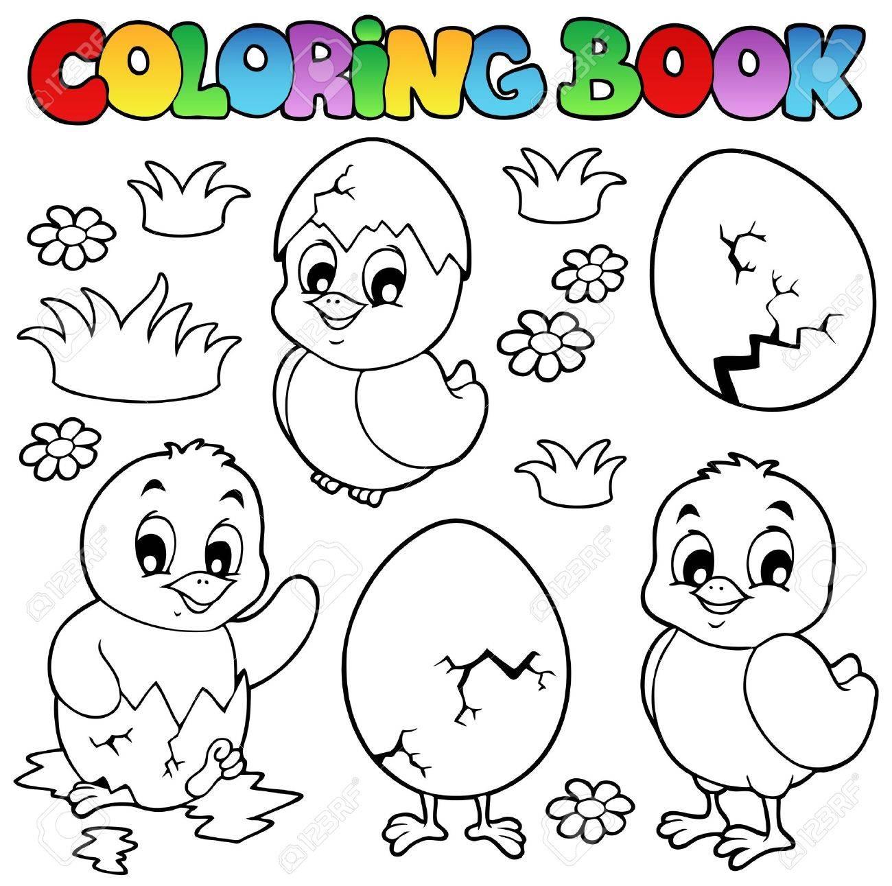 Libro Para Colorear Con Los Pollos Lindos - Ilustración Vectorial ...