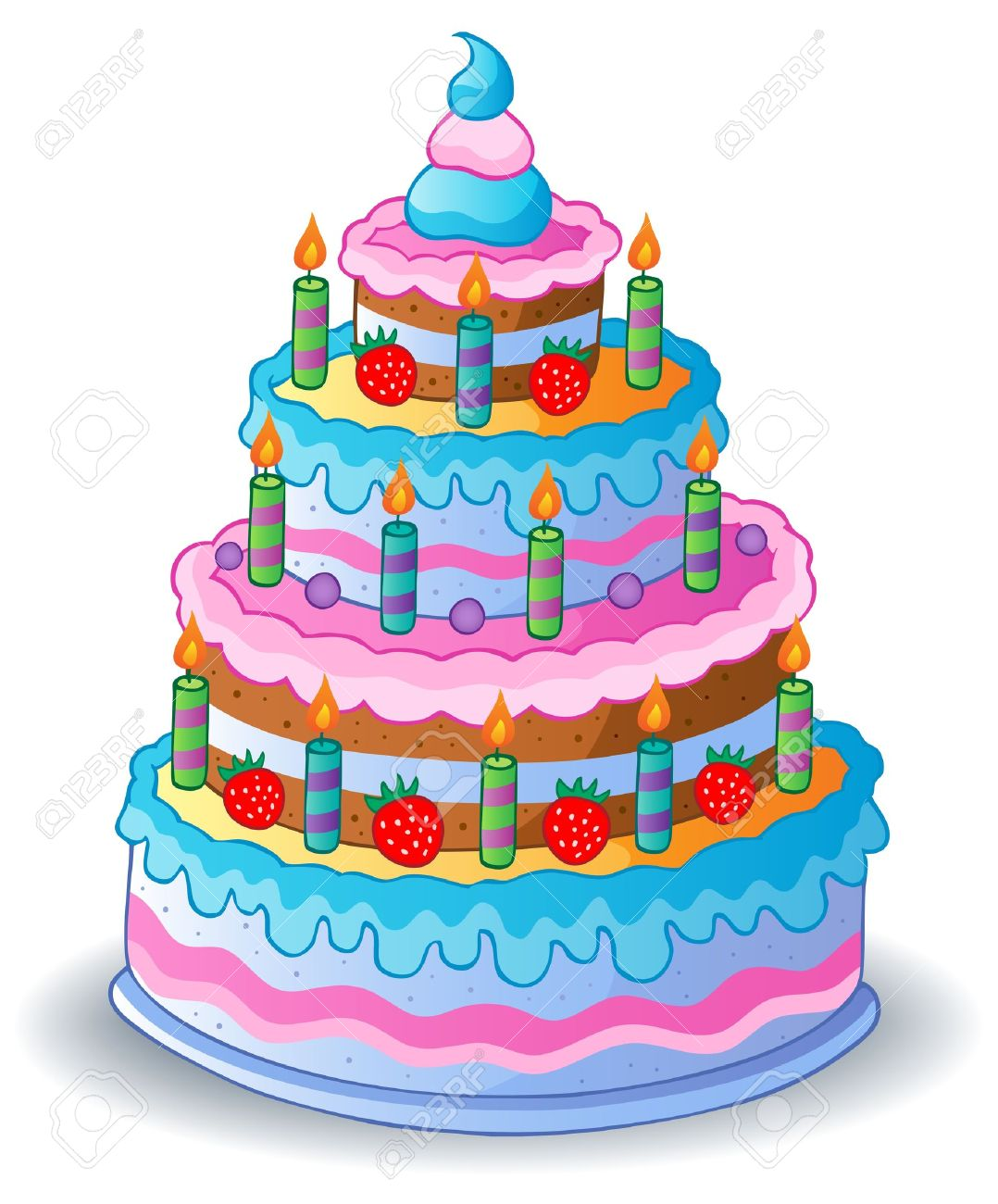 Decorated Birthday Cakes Decorated Birthday Cake 1 Vector Illustration Royalty Free