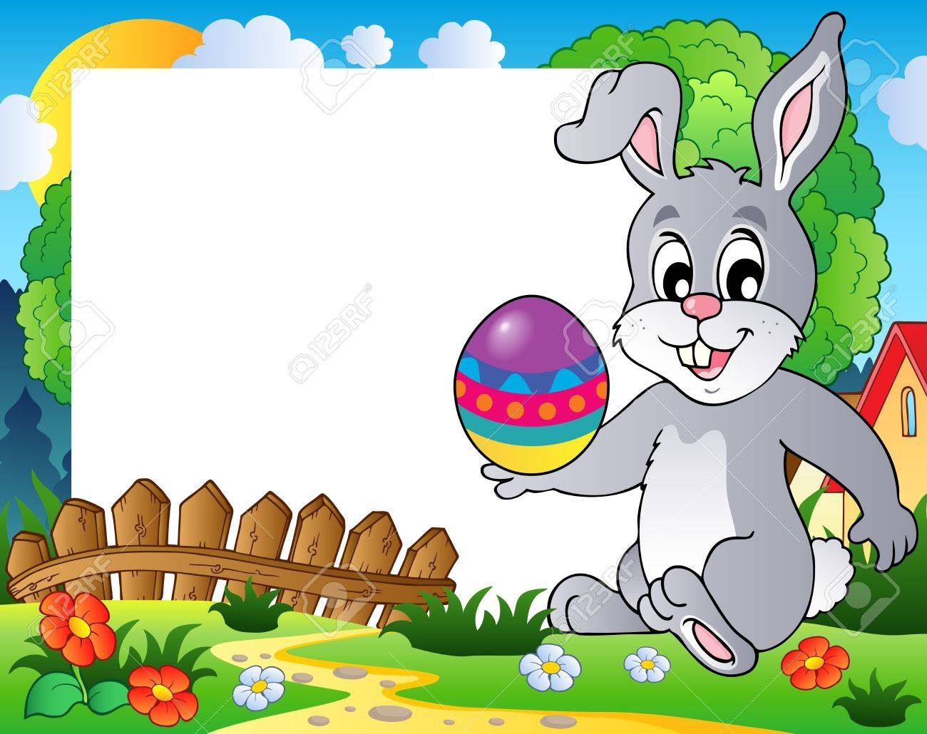 Frame with Easter bunny theme 3 - vector illustration Stock Vector - 12895902