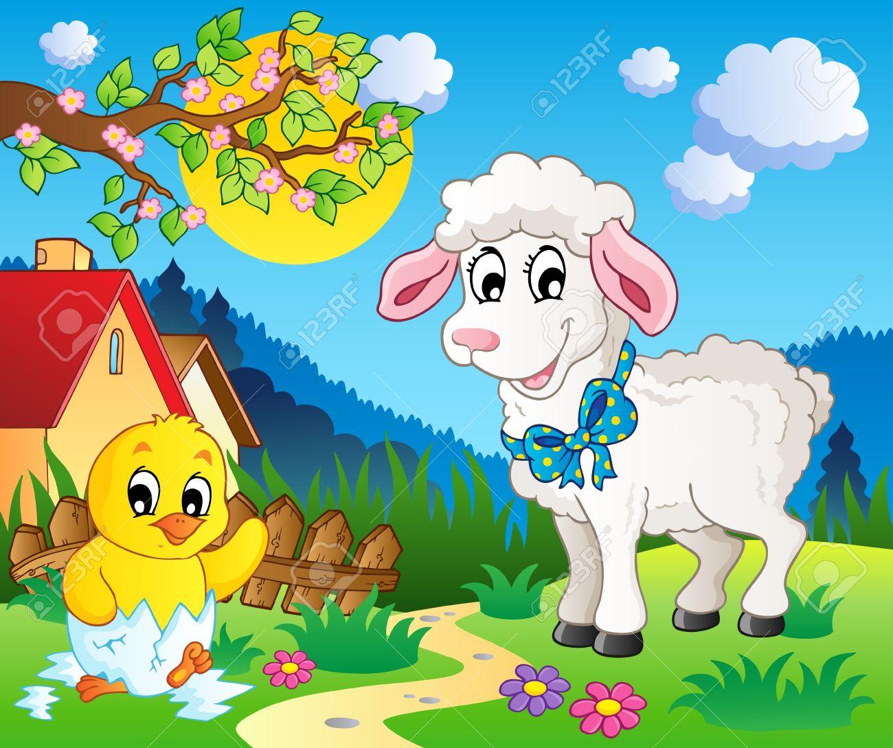 Scene with spring season theme 3 - vector illustration Stock Vector - 12895929