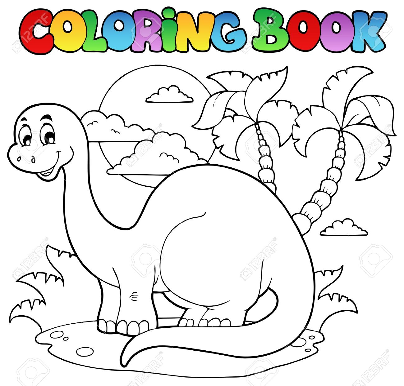 Coloring pages vector - Coloring Book Dinosaur Scene 1 Vector Illustration Stock Vector 13057393
