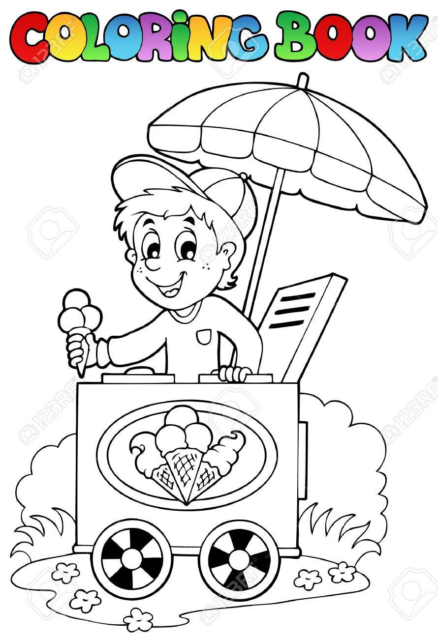 coloring book with ice cream man vector illustration royalty