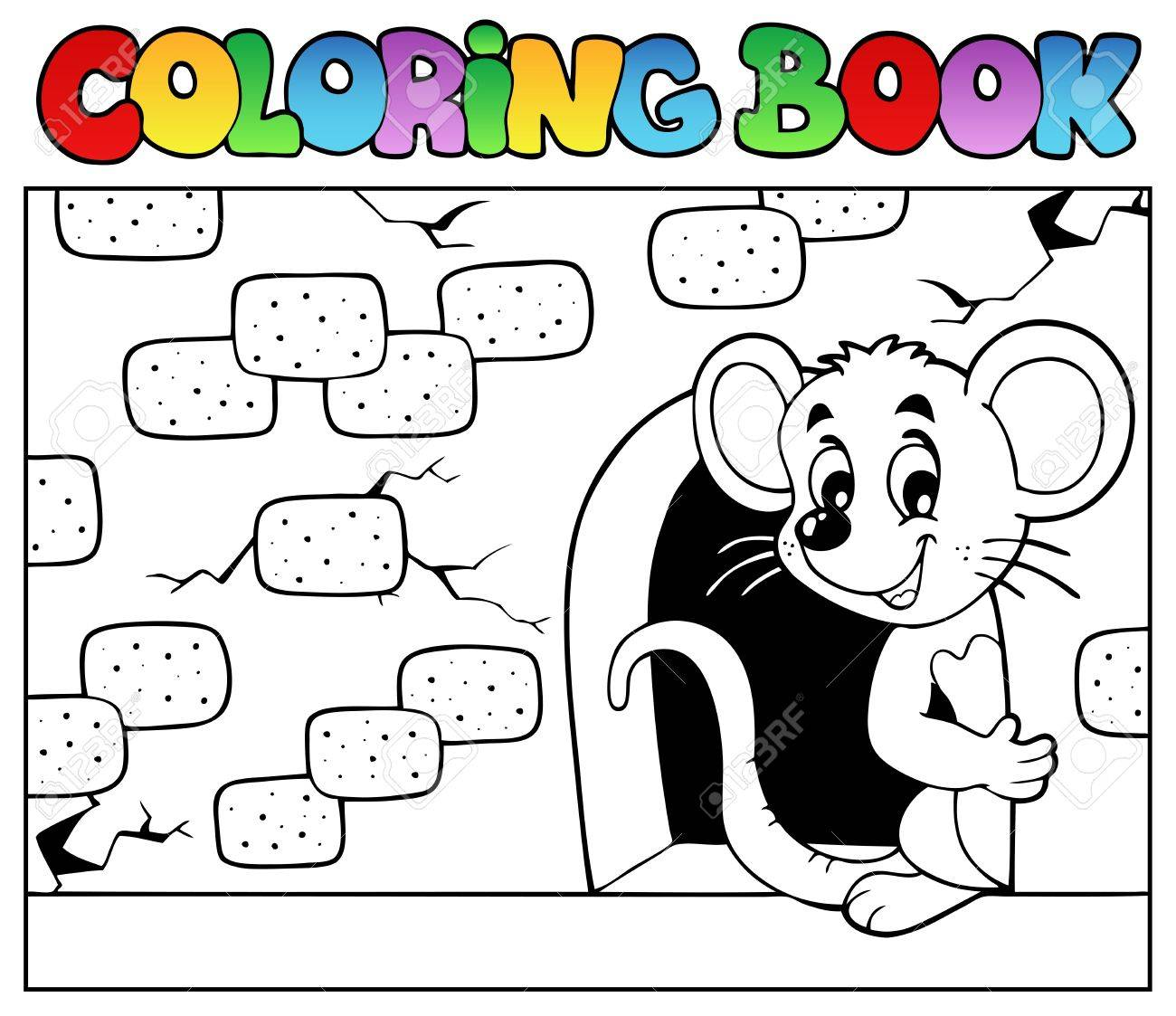 coloring book with mouse 3 vector illustration stock vector 13057330