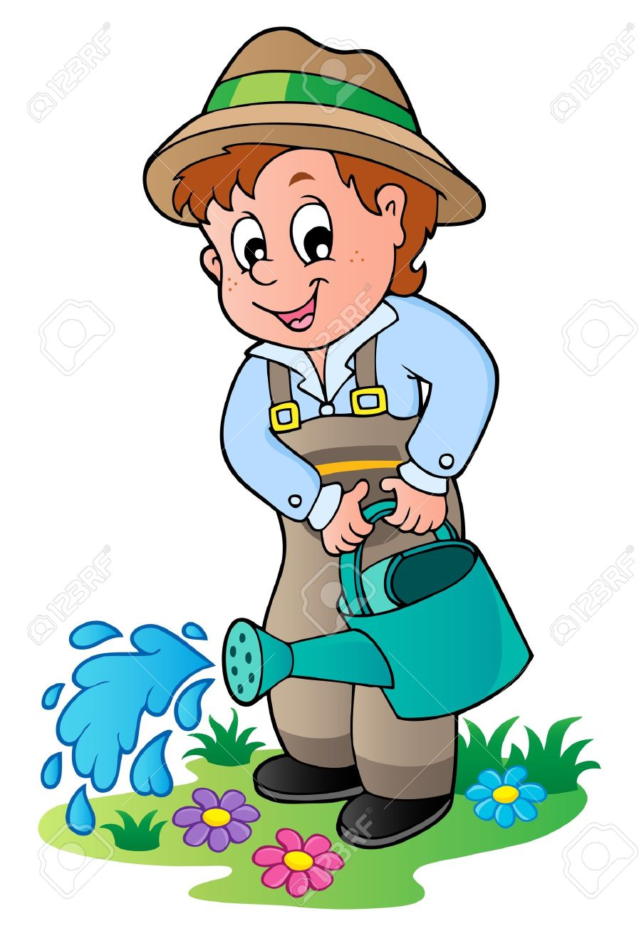 cartoon gardener with watering can vector illustration royalty rh 123rf com garden clipart black and white gardener clipart free