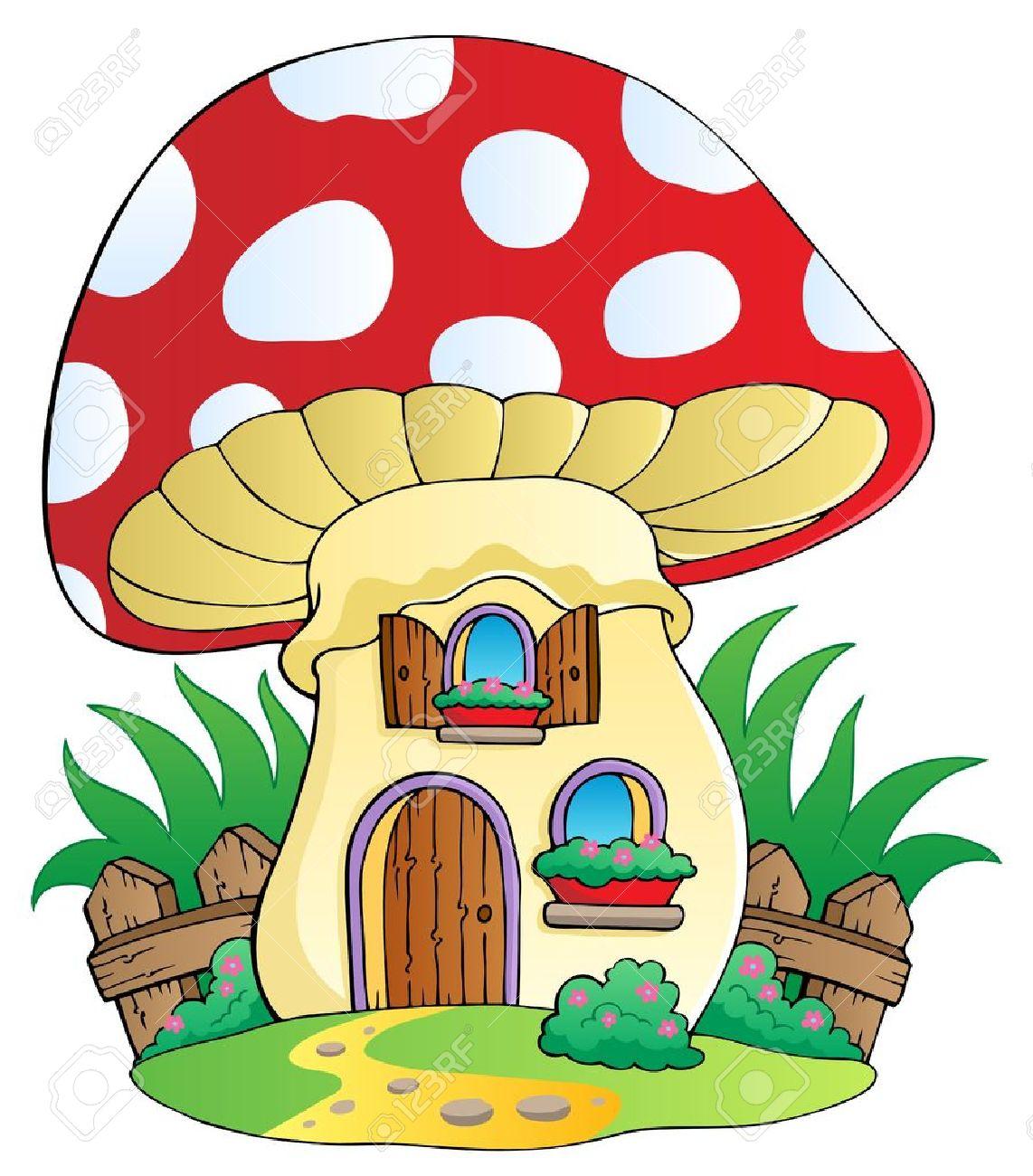 Cartoon mushroom house - vector illustration Stock Vector - 13356135