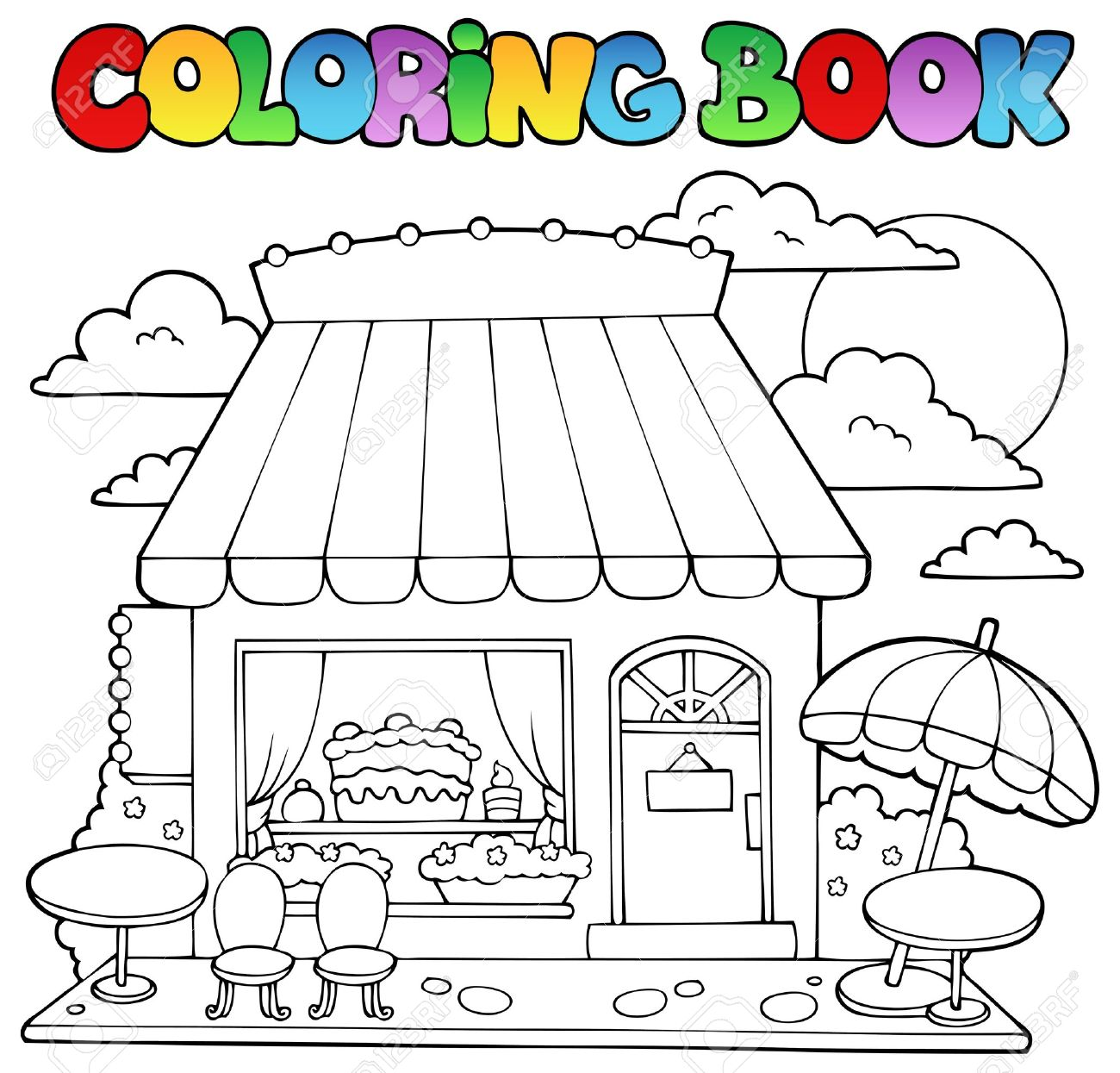 Coloring Book Cartoon Candy Store - Vector Illustration Royalty ...