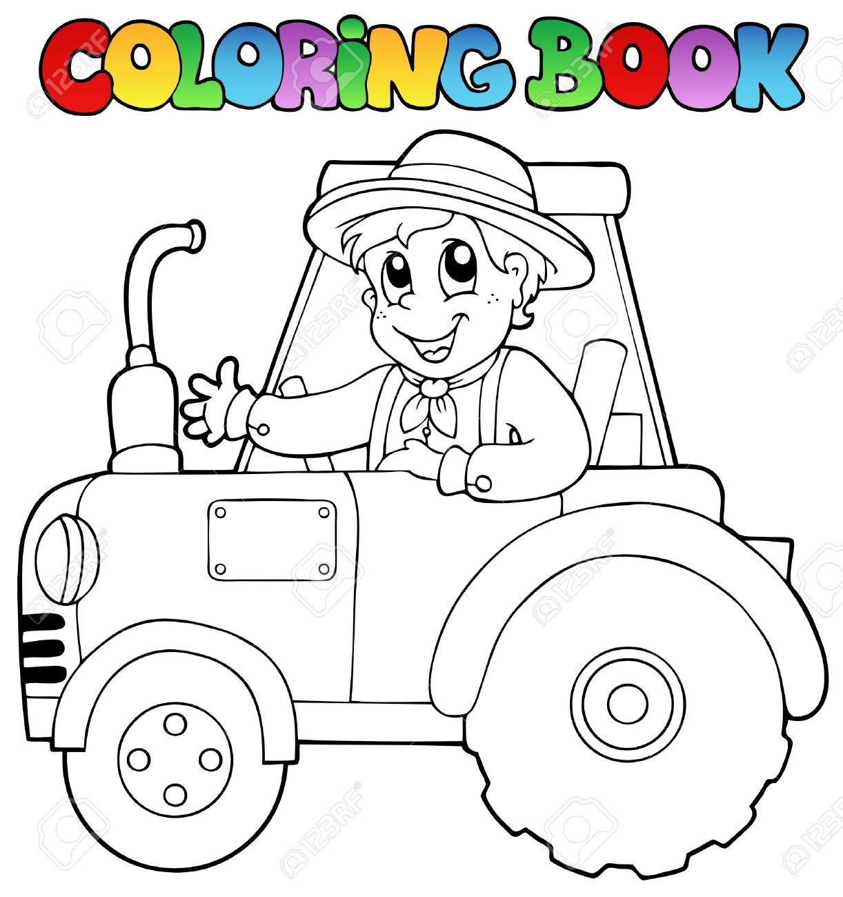 Coloring book farmer on tractor - vector illustration Stock Vector - 13356169