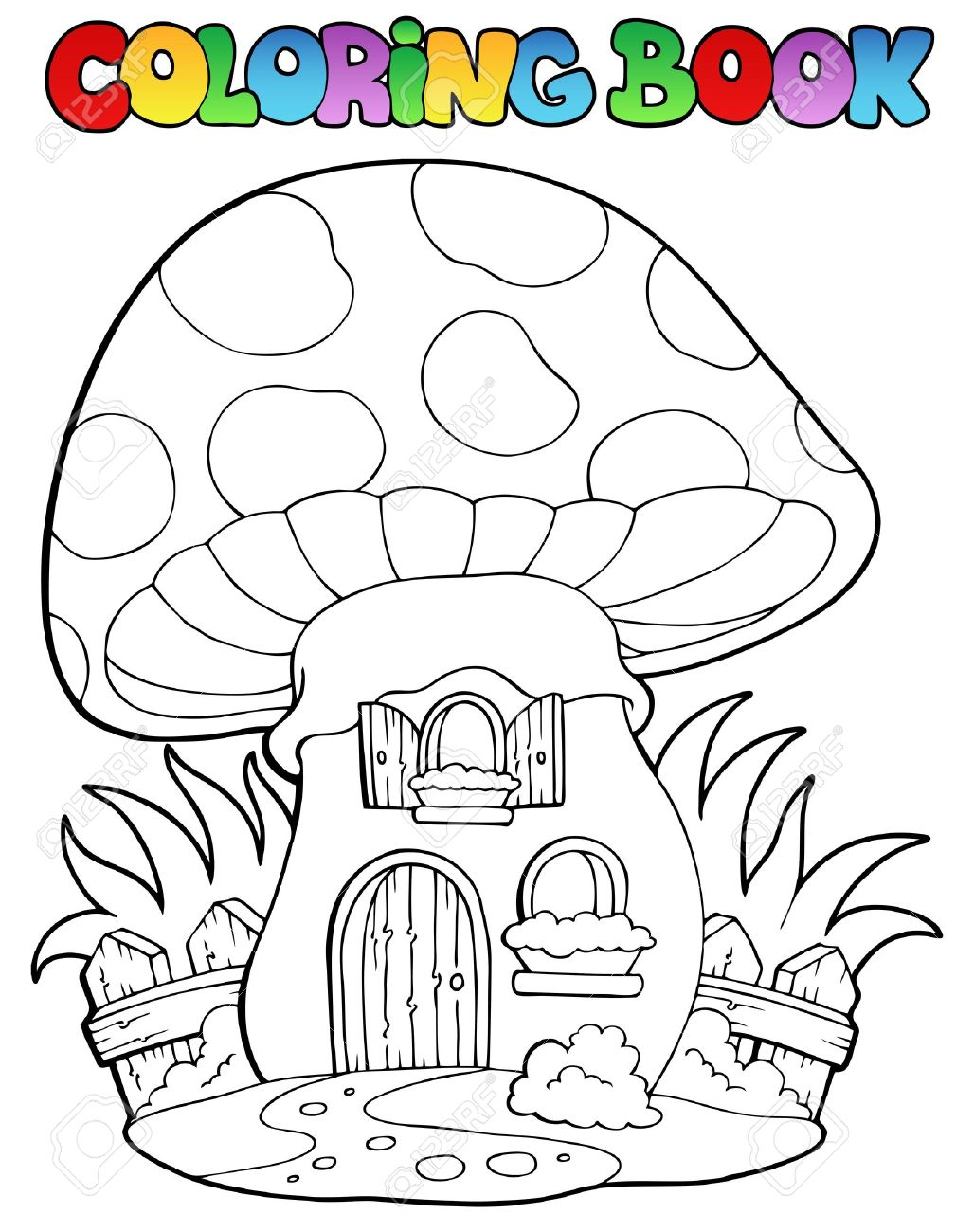 Coloring book mushroom house - vector illustration Stock Vector - 13356189