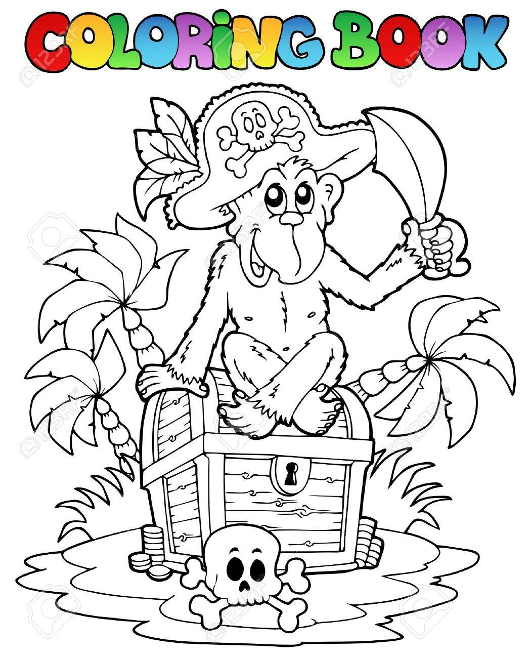 The coloring book clean - Coloring Book With Pirate Theme 3 Vector Illustration Royalty