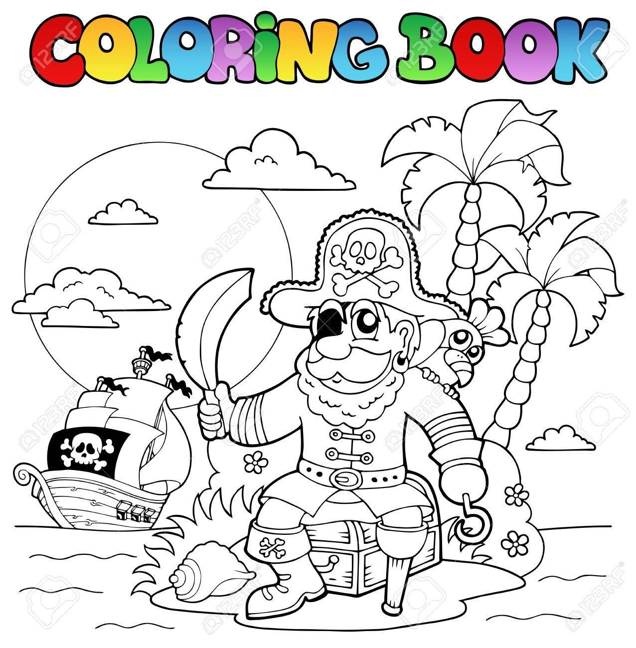 Libro Para Colorear Con Tema De Piratas 4 - Ilustración Vectorial ...