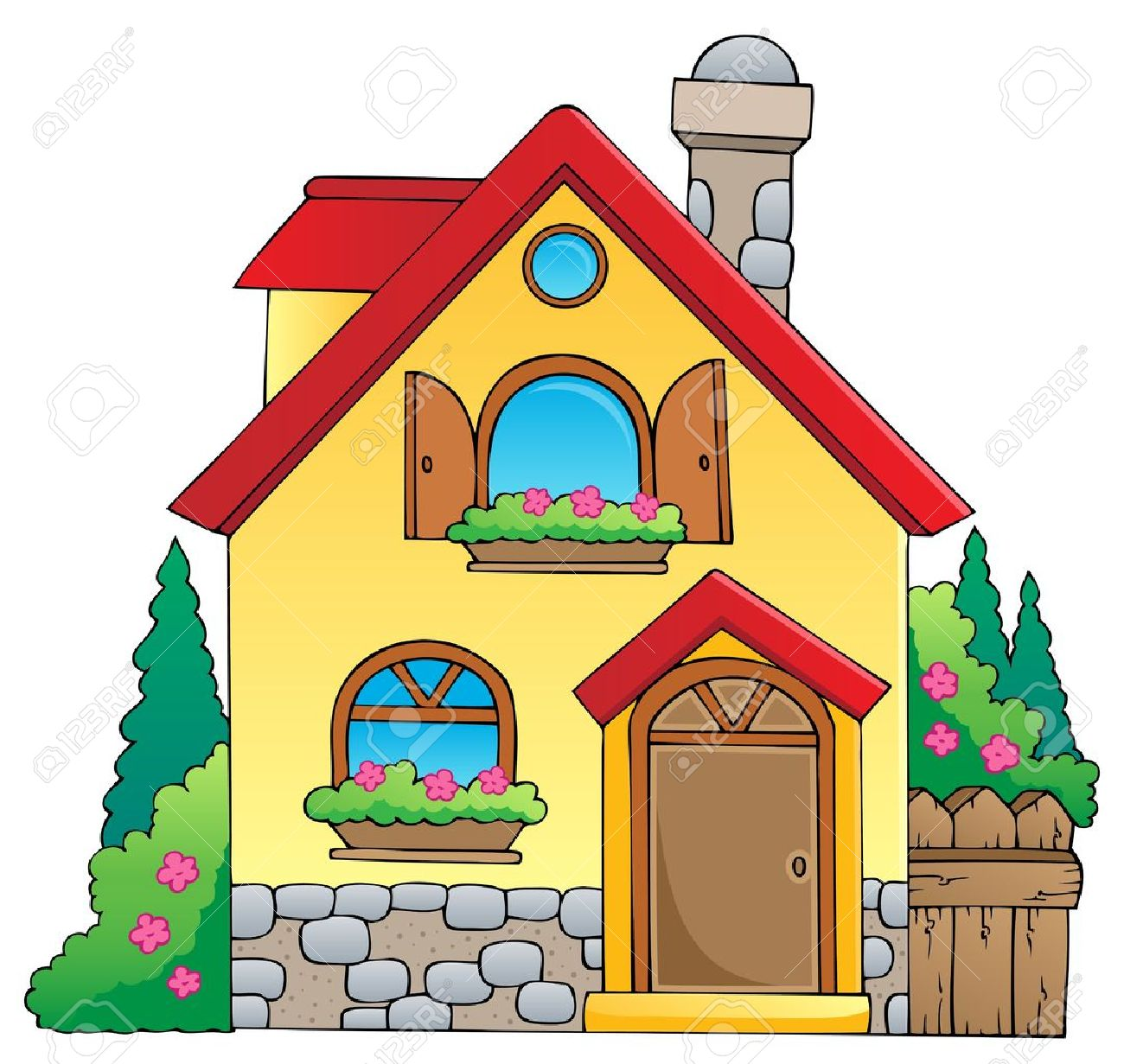 Haus bauen comic  Cartoon Haus Lizenzfreie Vektorgrafiken Kaufen: 123RF